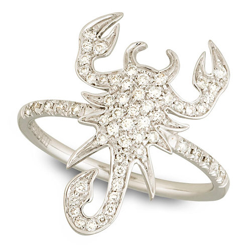 White Gold and Diamonds Scorpion Ring