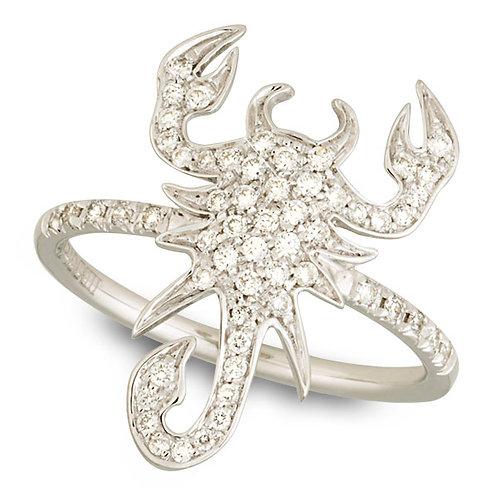 White Gold and Diamonds Scorpion Ring