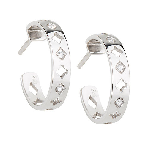 White Gold and Diamonds Hoops
