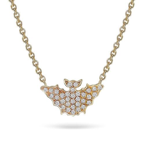 Yellow Gold and Diamonds Medium Size Bat Necklace