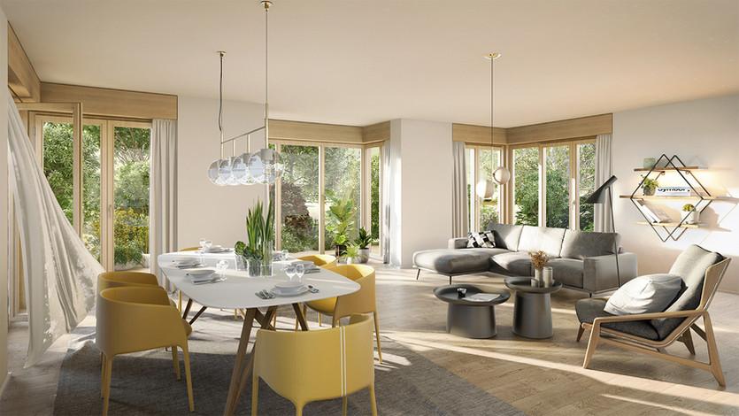 3D Innenraum Visualisierung einer Wohnungsbau Immobilie mit Terrasse am See