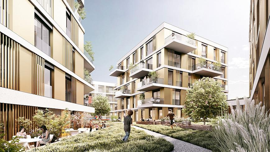 3D Visualisierung Wohnanlage begrünter Innenhof