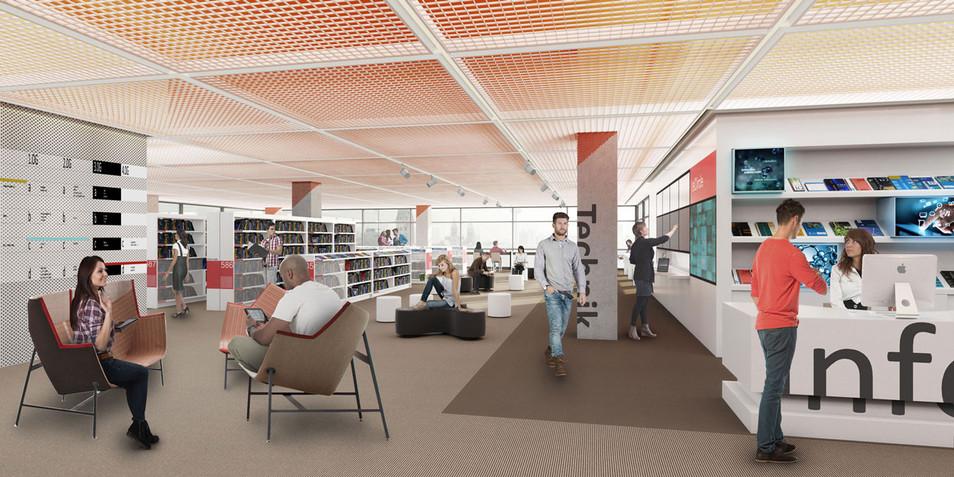 3D Innenraum Visualisierung einer Bibliothek in Köln