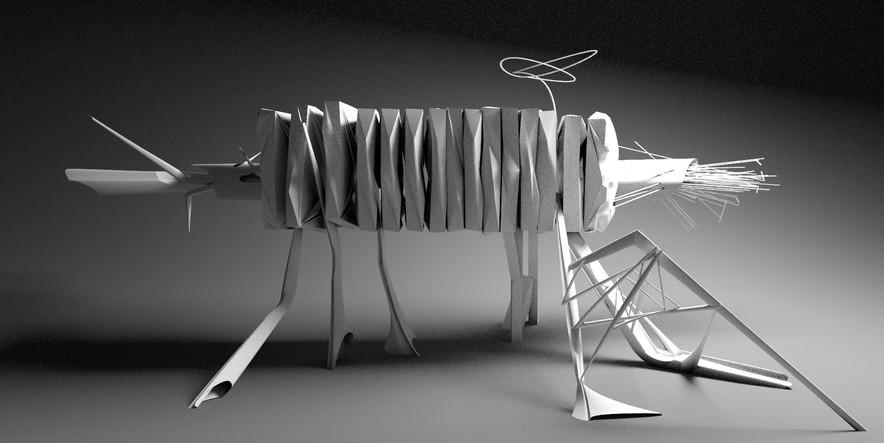 Abstrakte 3D Visualisierung einer digitalen Skulptur