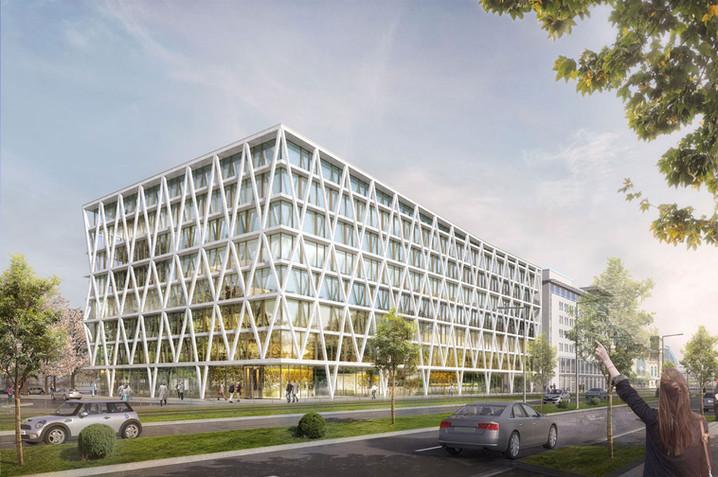 3D Aussenraum Visualisierung eine Büro Immobilie