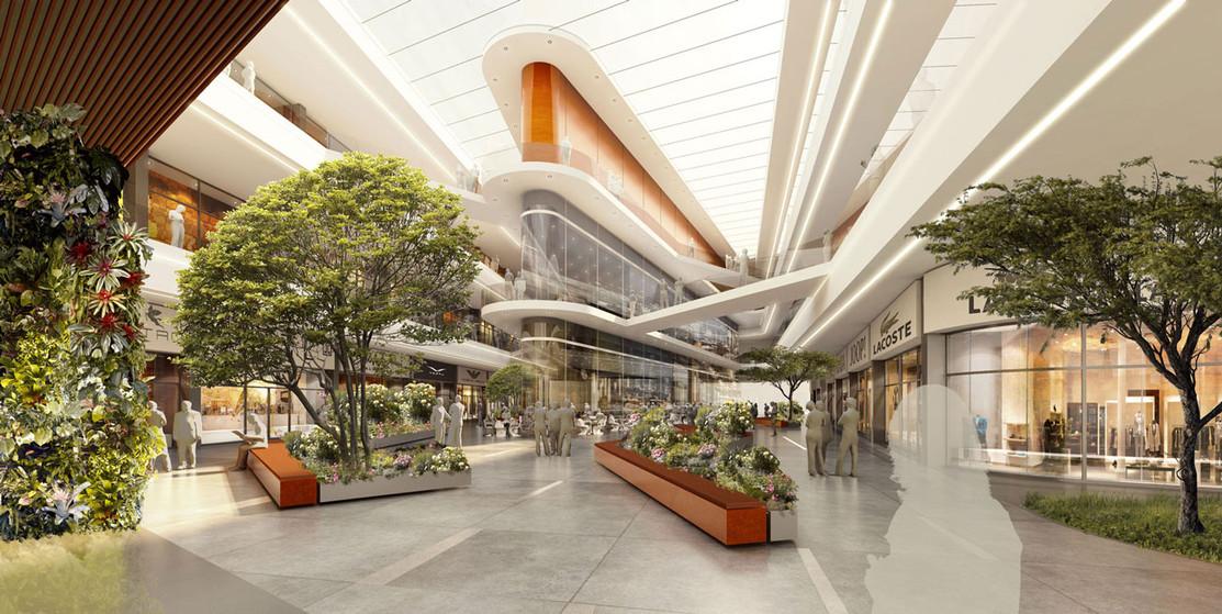 3D Innenraum Visualisierung einer Shopping Mall Immobilie
