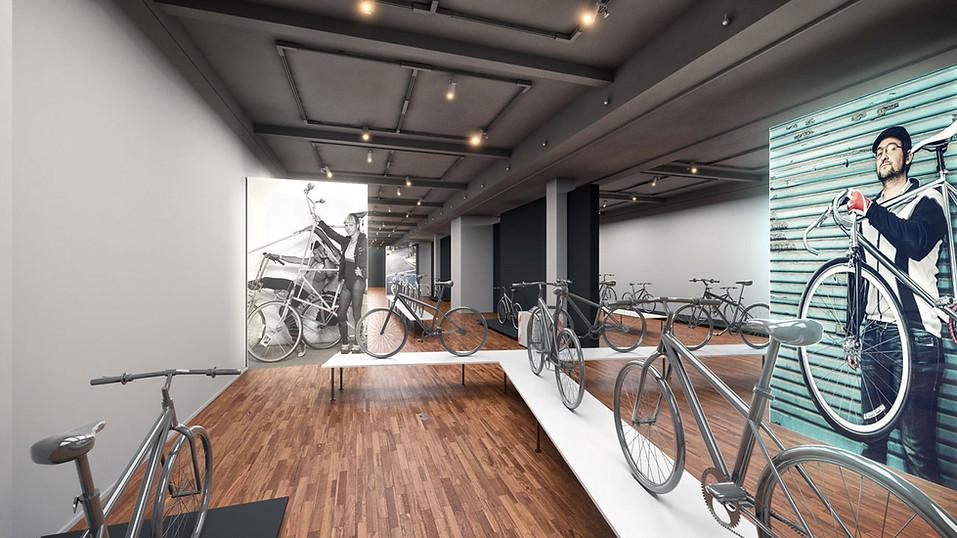 3D Innenraum Visualisierung einer Fahrrad Ausstellung