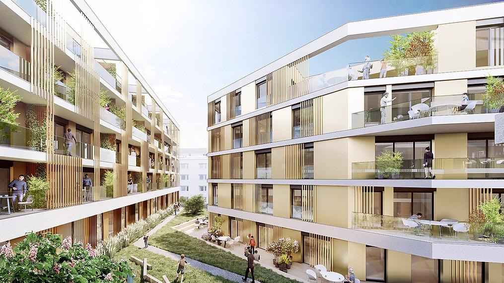 3D Architektur Visualisierung begrünter Innenhof
