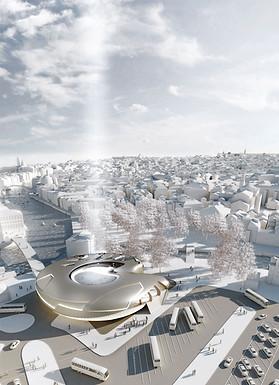 3D Aussenraum Visualisierung eines Besucherzentrum