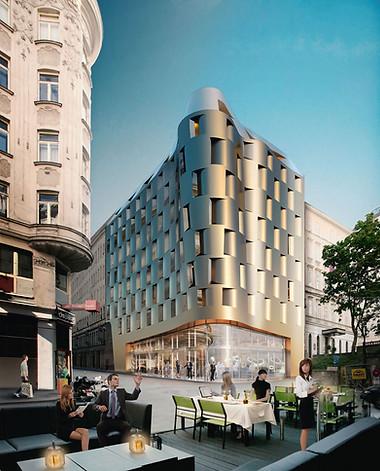 3D Aussenraum Visualisierung einer Wohnungsbau Immobilie mit Terrasse