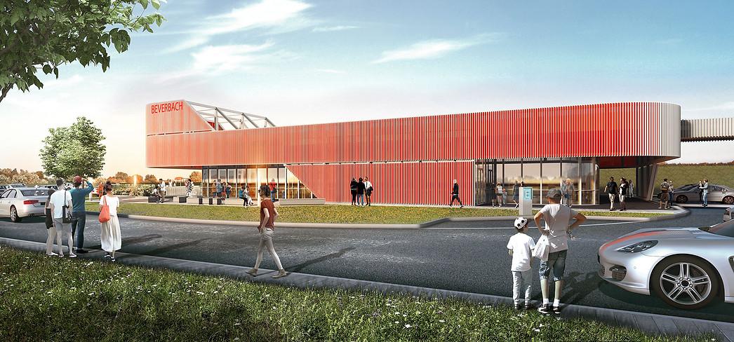 3D Architektur Visualisierung einer Autobahn Immobilie mit Terrasse