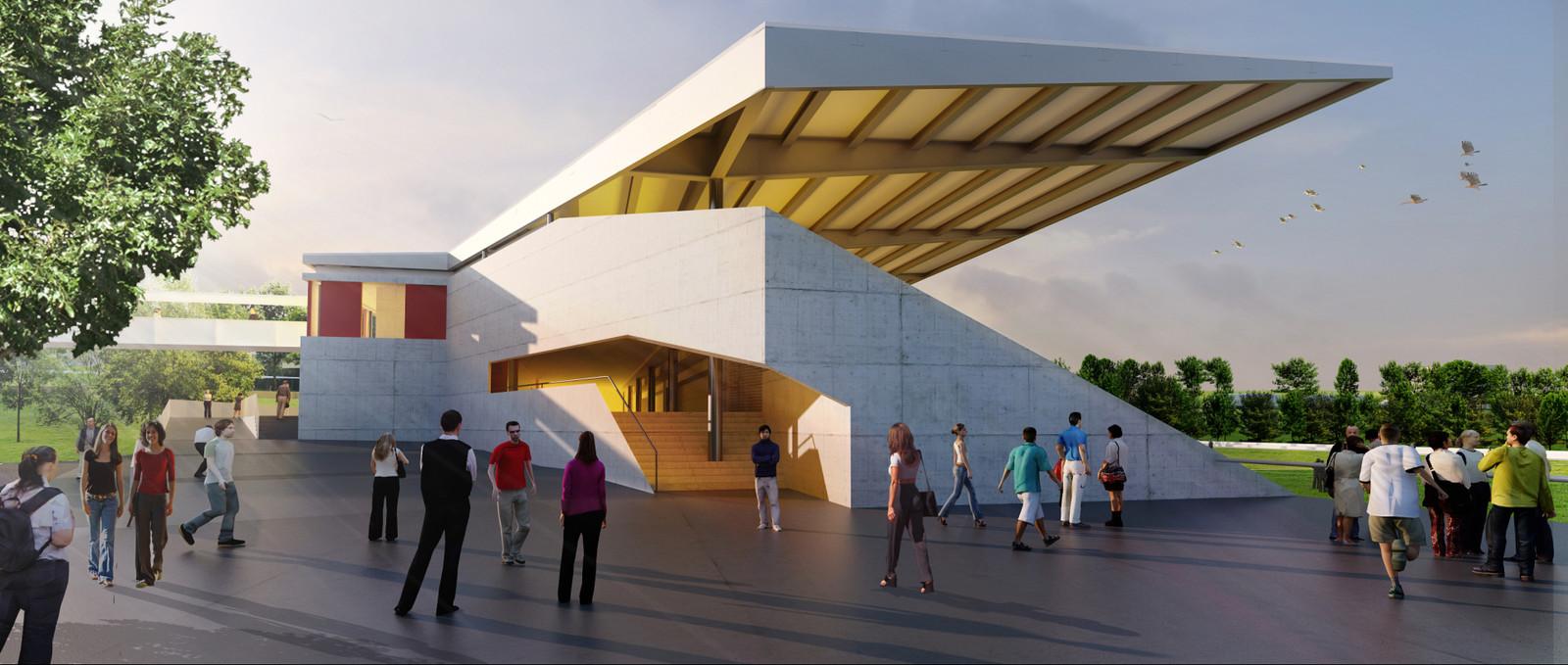 Architekturvisualisierung Stuttgart wettbewerb tribühnengebäude differdange asp architekten