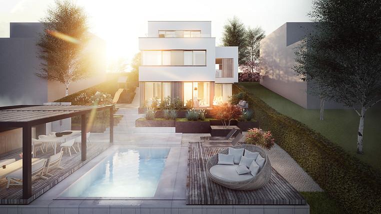 3D Aussenraum Visualisierung einer Wohnungsbau Immobilie mit Terrasse am See