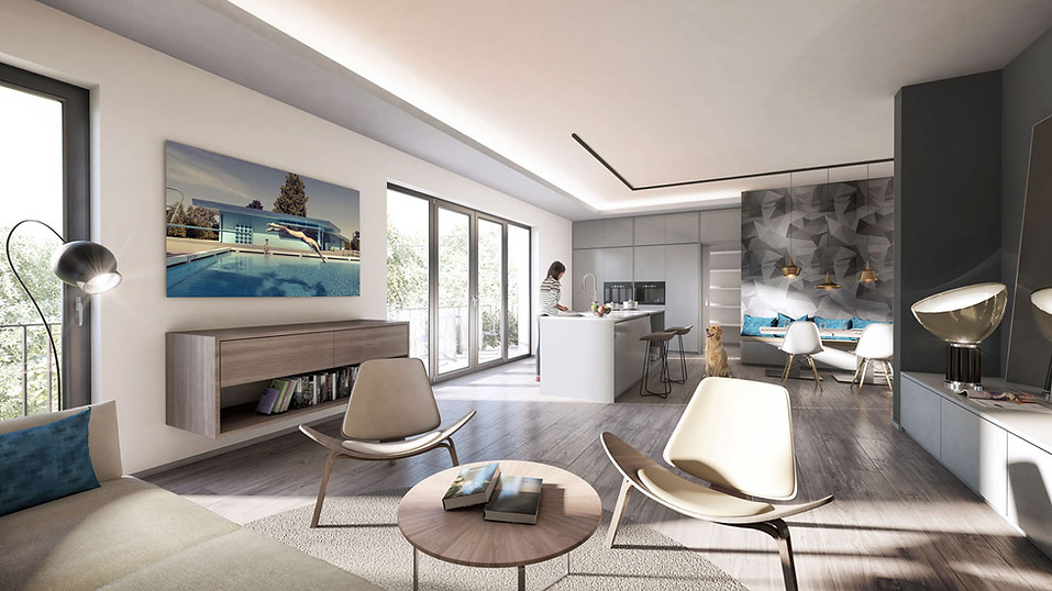 3D Innenraum Visualisierung einer Wohnungsbau Immobilie mit Terrasse