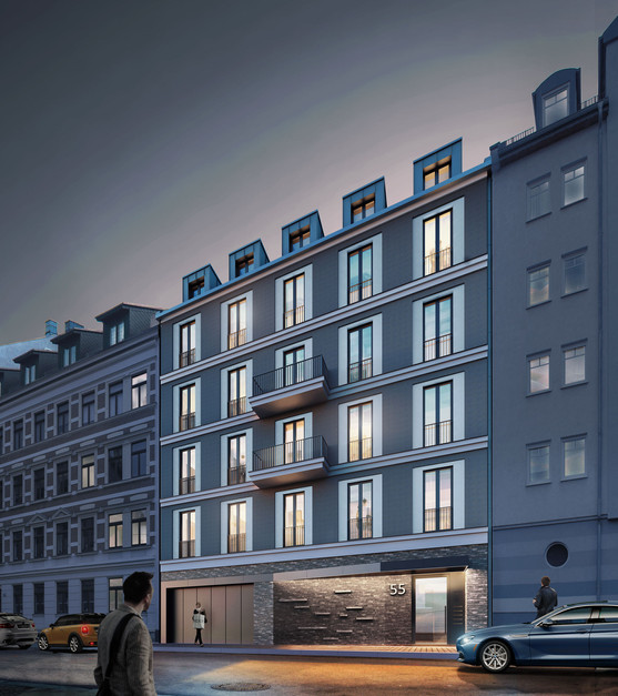 3D Aussenraum Visualisierung einer Wohnungsbau-Immobilie