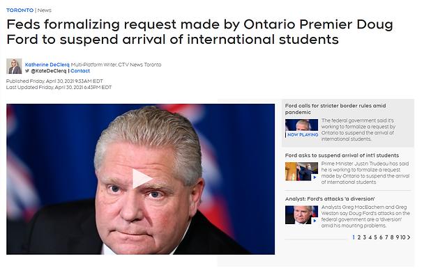 注意!加拿大最大省份將可能禁止海外留學生入境 ,同時宣佈五月全民可以預約接種疫苗!