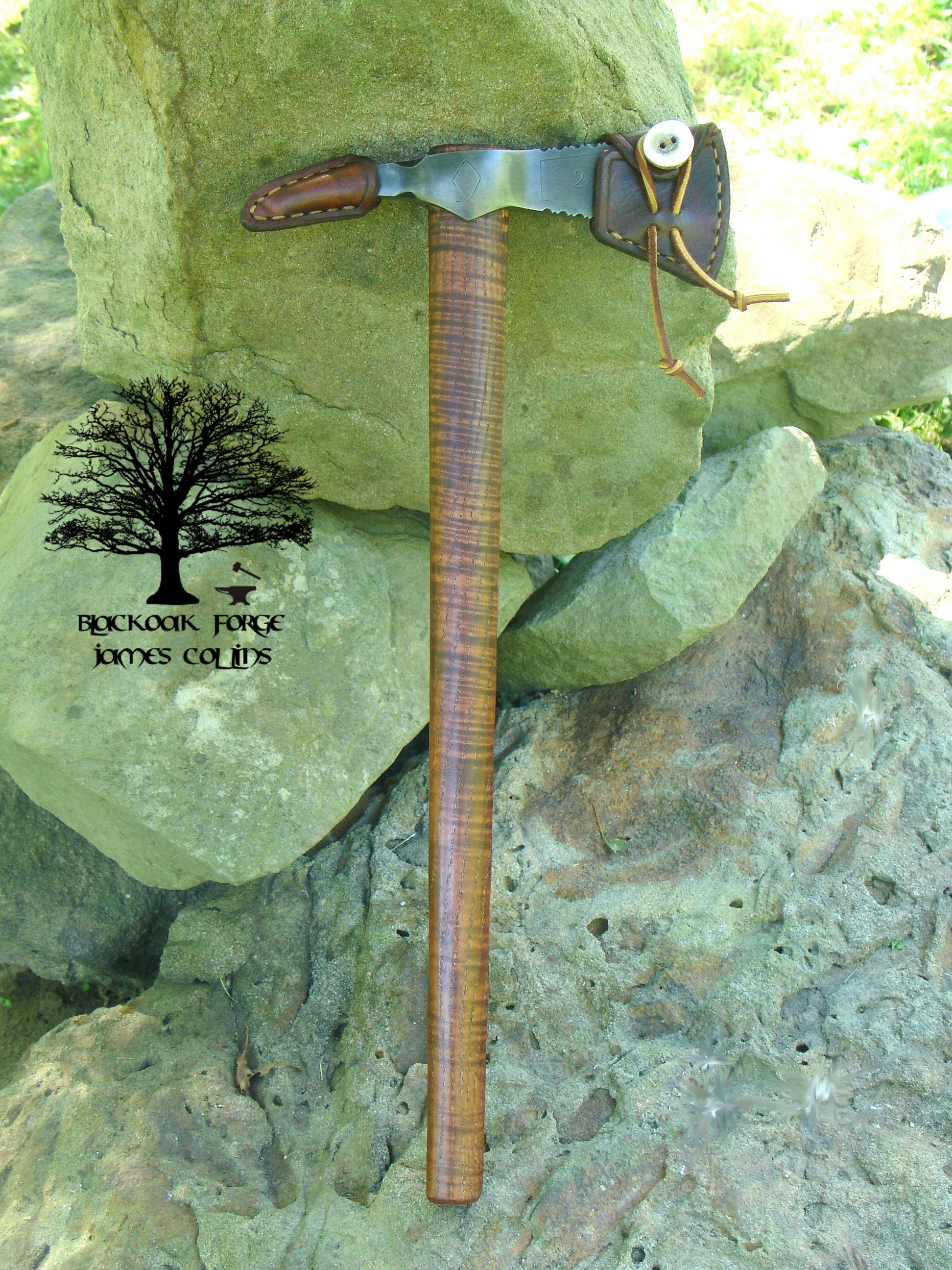 Etched Spike Point Tomahawk by James Collins Blackoak Forge