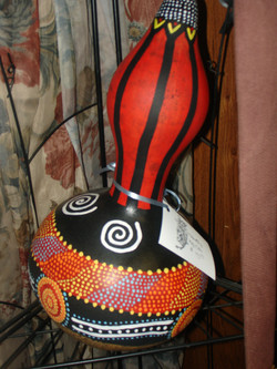 Painted Gourd Shaker Instrument