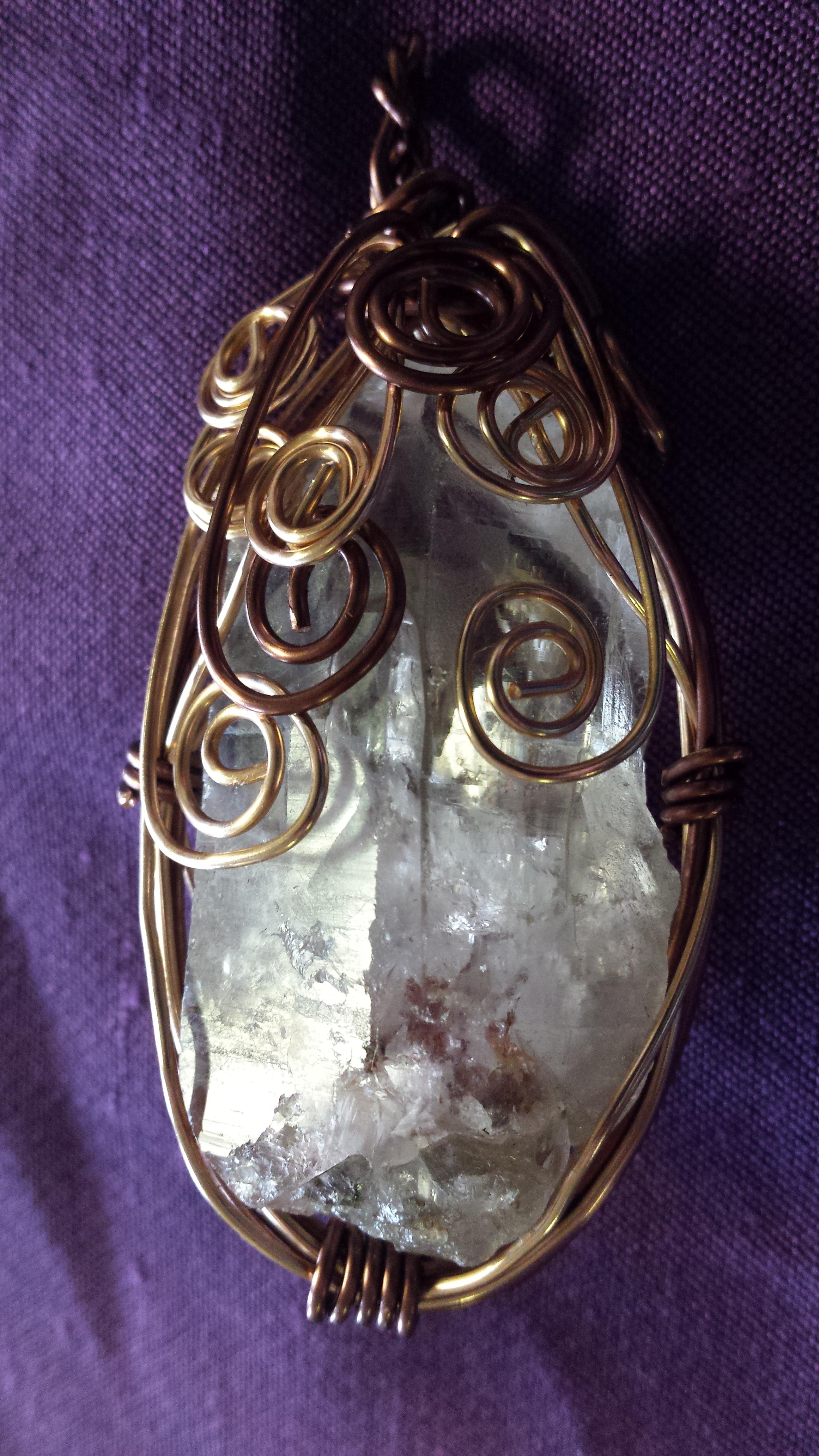 Huge Crystal Quartz in Antq Bronze