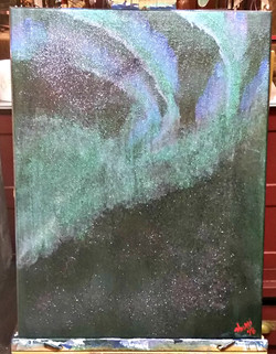 Galaxite with the Aurora Borealis