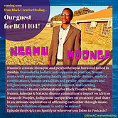 Text based graphic featuring a photo of Nsamu Moonga and text from the episode description on the webpage