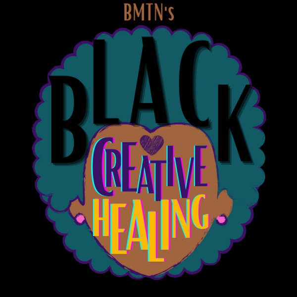 An image of an illustrated Teal afro surrounds a Brown Face. The words Black Creative Healing are spread throughout the hair and skin.