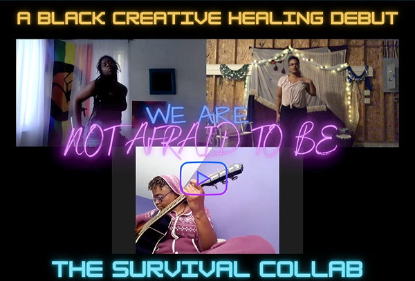 """a screenshot from the """"BCH Survival Collab"""" video – it is a Zoom screen capture with three participants. In the top two frames, Black female presenting figures are posed mid-dance. On the left, Anika McDonald is in a room backlit by sunlight coming through a pride flag with the black power fist on it. In the upper right frame, Natasha is posed against a garage wall adorned with hanging fabric in shades of purple and tan. Fairy lights are strung above her head. In the bottom frame Tiffany Morris plays guitar while sitting in a purple onesie against a lavender wall. The text """"We Are Not Afraid to Be"""" is overlaid evenly across the three frames of the screen, in fluorescent blue and pink. Surrounding the screenshot is text from the caption/thread, in various shades of blue/teal, yellow, and pink/purple."""