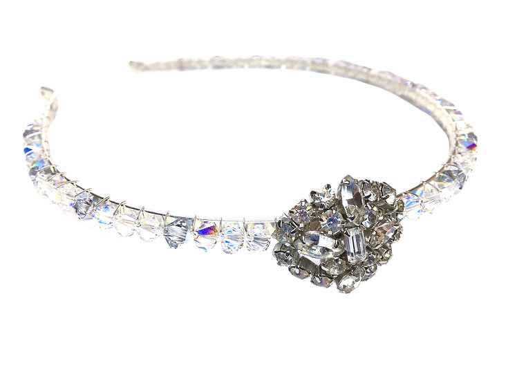 Vintage Brooch Crystal Headband