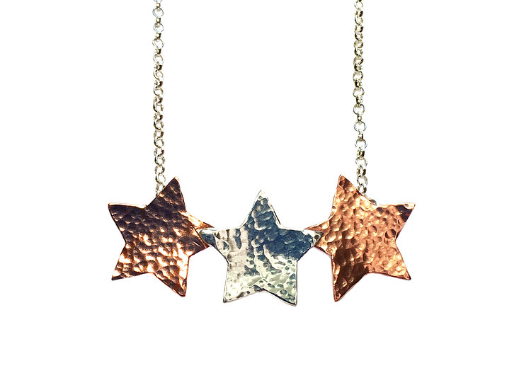 Copper and Silver Star Trio Necklace