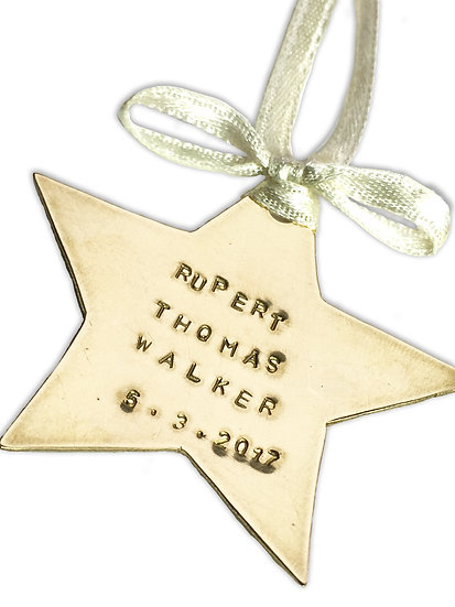 Brass Hanging Star Ornament Personalised