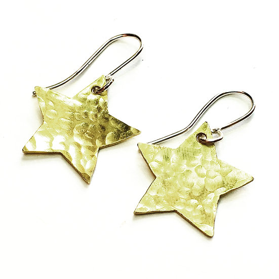 Hammered brass star dangle earrings