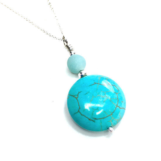 Turquoise and Amazonite Circle Pendant