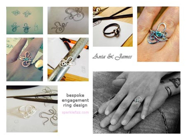 stages of designing an enagement ring frm skech to finished ring in emerald and silver