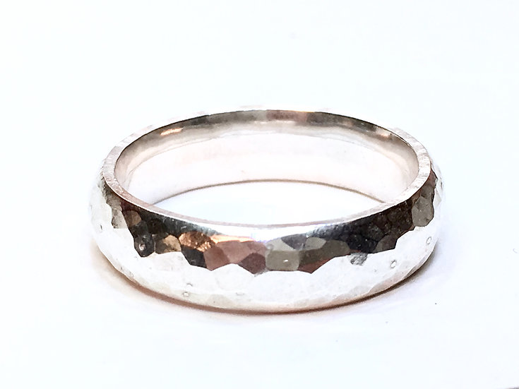 Hammered 5mm Ring (Curved Band) Silver or 9ct Gold