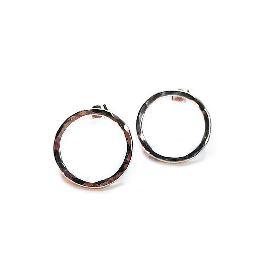 Silver Hammered 'Washer' Circle Hoop Studs