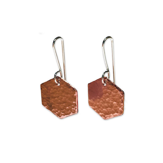 Copper Hammered Hexagon Earrings