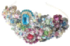 Multi coloured large statement rainbow vintage bridal headband tiara wedding millinery with vintage brooches and Swarovski crystal in pastel tones