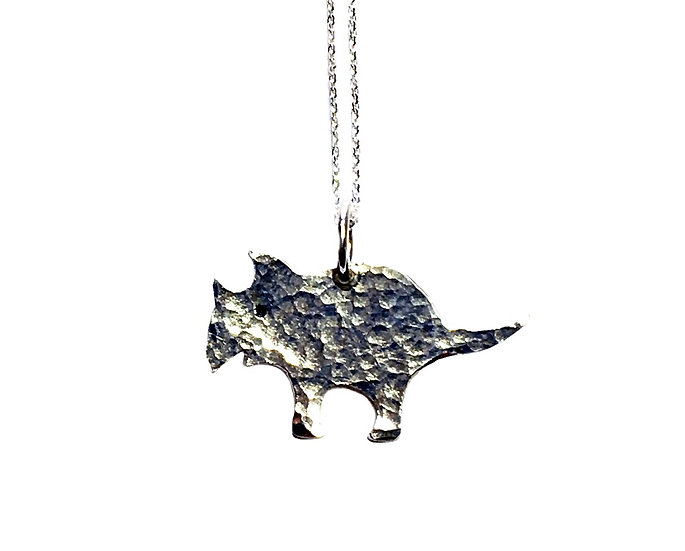 Hammered Silver Dinosaur Pendant- Triceratops