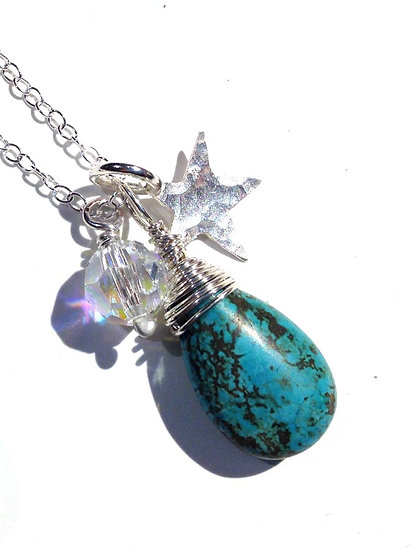 Turquoise teardrop cluster charm necklace