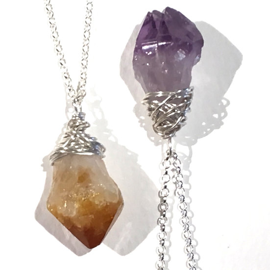 Rugged Citrine / Amethyst Wrapped Pendant