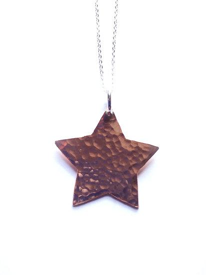 Copper Hammered Star Pendant