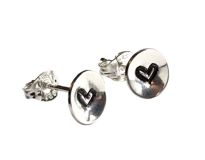 Tiny Embossed Silver Heart Studs
