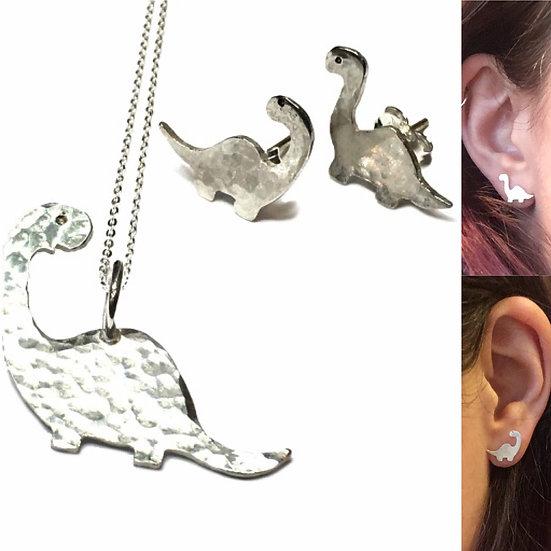 Hammered Silver Dinosaur Earrings Studs- Diplodocus