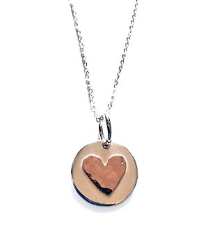 silver circle copper heammered heart pen