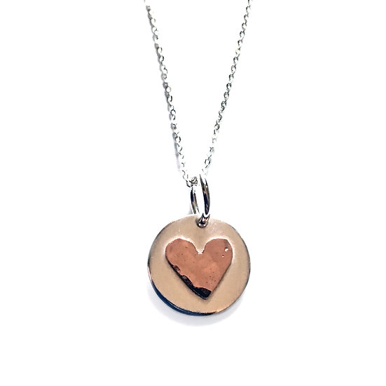 Silver Circle Pendant with Copper Hammered Heart