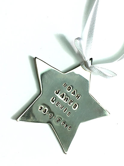 Sterling Silver Hanging Star Ornament Personalised