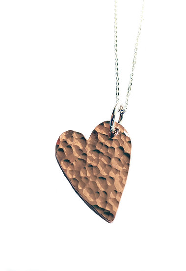Copper Hammered Heart Pendant