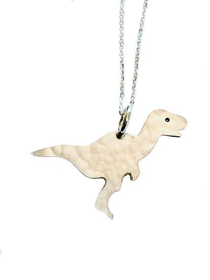 Hammered Silver Dinosaur Pendant-Raptor