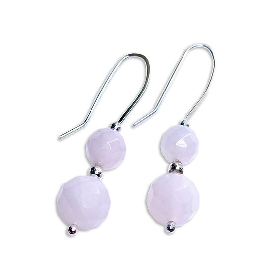 Rose Quartz Faceted Round Earrings