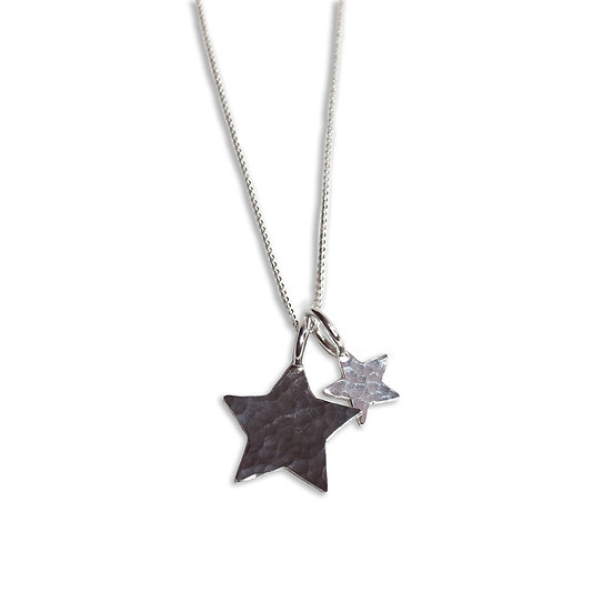 Big & Little Silver Star Charm Necklace